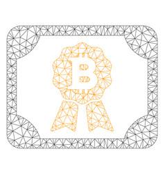 bitcoin diploma mesh wire frame model vector image