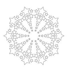 black and white circular round mandala with stars vector image