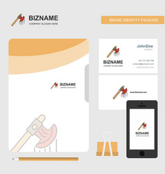 Bloody axe business logo file cover visiting card vector