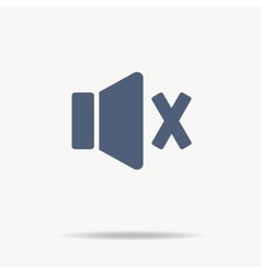 Blue speaker icon with cross off single flat vector