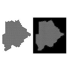 Botswana map hex tile abstraction vector