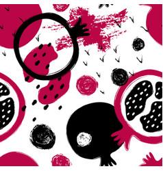 brush grunge pomegranate seamless pattern vector image