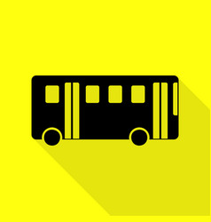 bus simple sign black icon with flat style shadow vector image