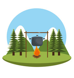 Camping zone with pot cooking and campfire vector