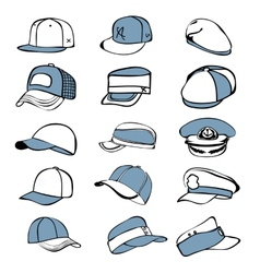 cap set isolated on white hat icon baseball rap vector image