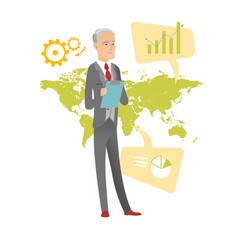 Caucasian businessman working in global business vector