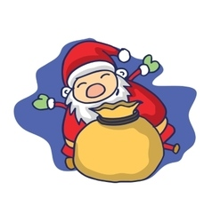 Christmas theme with Santa Claus and gift bag vector image