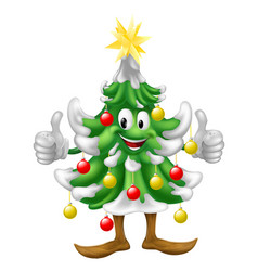 christmas tree mascot doing thumbs up vector image