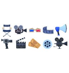 cinema symbols movie theatre or cinematography vector image