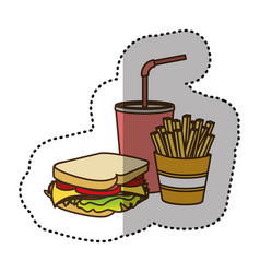 Color sandwich soda and fries french icon vector