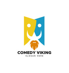 comedy viking logo vector image