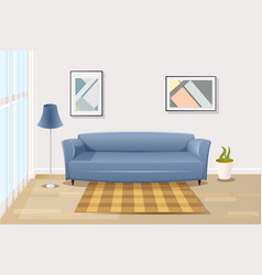 comfortable sofa in living room cartoon vector image