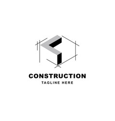 Construction logo design with letter l shape icon vector