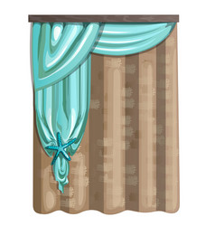 Curtain of burlap and fabric in turquoise color vector