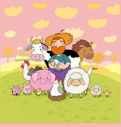 Cute cartoon farmer and animals country man vector
