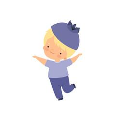 Cute little boy wearing blueberry costume vector