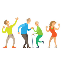 dancing old couple young and senior people vector image