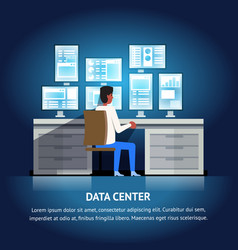 data center monitor dashboard system vector image