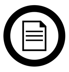 Document icon black color in circle vector