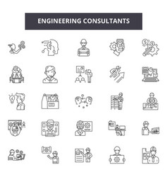 Engineering consultant line icons signs vector