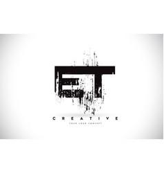Et e t grunge brush letter logo design in black vector
