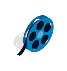 Film reel icon in isometric 3d style vector image