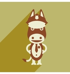 Flat icon with long shadow cartoon donkey vector