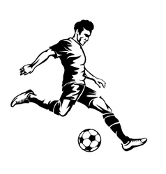 Football player with soccer ball silhouette vector