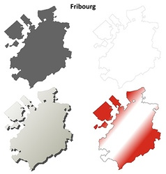 Fribourg blank detailed outline map set vector image