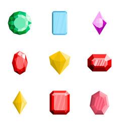 gem icons set flat style vector image