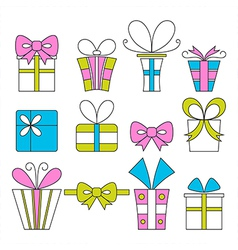 Gift boxes icons festive set vector image