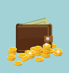 golden coins with wallet vector image