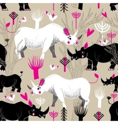 Graphic pattern of rhinoceroses lovers vector image