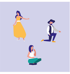 Group people dancing and sitting avatar character vector