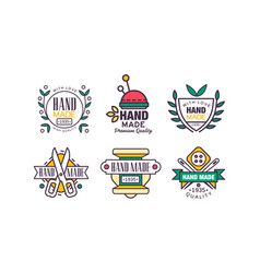 hand made needlework badge and logo set vector image