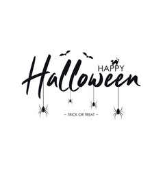 happy halloween text banner with bat spider and vector image