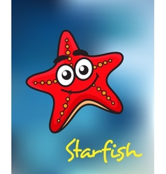 Happy little red cartoon starfish vector image