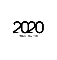 Happy new year 2020 logo text design cover vector