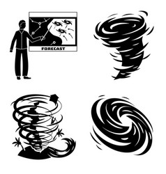 Hurricane icons set simple style vector