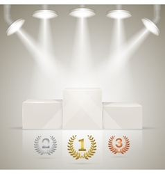 Illuminated sport winners pedestal with awards vector image