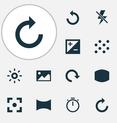 Image icons set collection of monitor round vector