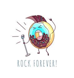 Kawaii funny donut rock singer sweet fast food vector