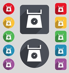 kitchen scales icon sign A set of 12 colored vector image