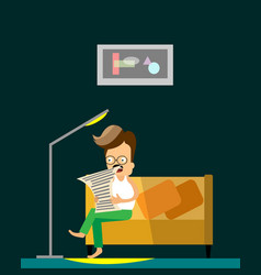 man reading newspaper flat cartoon vector image