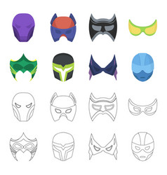 Mask on the head and eyes super hero mask set vector
