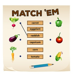 Matching game with fresh vegetables vector