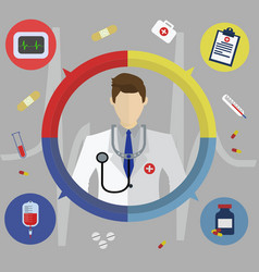 medical flat banner with doctor vector image