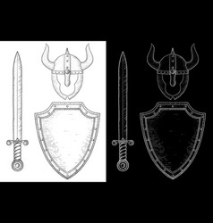 medieval warrior equipment - sword shield and vector image