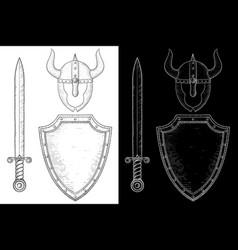 medieval warrior equipment - sword shield vector image
