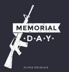Memorial day poster with automatic rifle vector